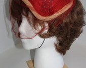 Vintage Tomato Red Clamshell Straw Hat with Beaded Applique