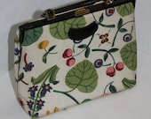 Vintage 1960s Off White Fabric Bag Flower Fruit Print Frame Black Patent Vinyl Gold Hardware Ingber