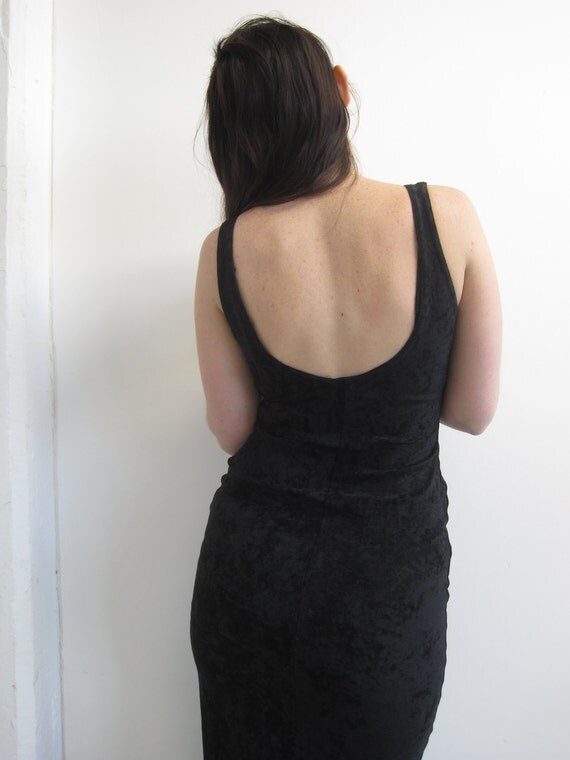 Crushed Black Velvet Contempo Scoop Back Maxi Dress