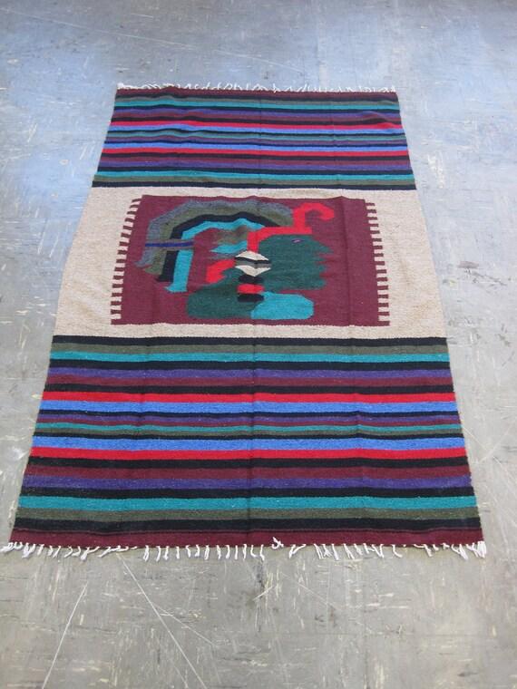 Vintage Handmade Native American Aztec Navajo Blanket Rug Wall Hanging