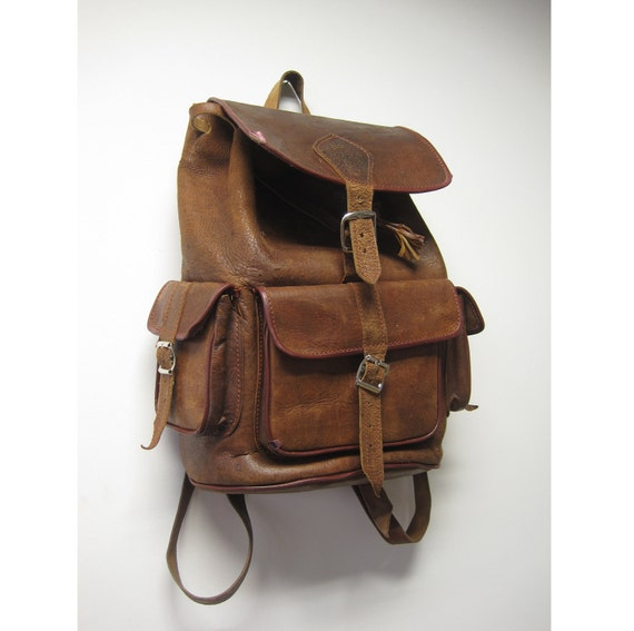 70s Rugged Leather Backpack