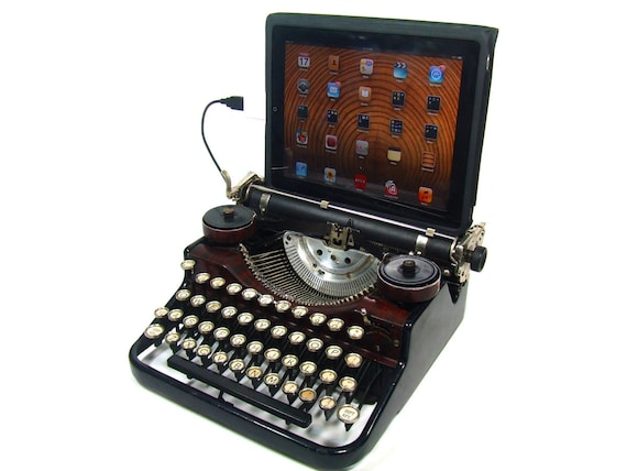 USB Typewriter -- Underwood with Faux Walnut Finish