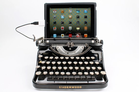 USB Typewriter Computer Keyboard -- Black Underwood Model F w/ Glass Keys
