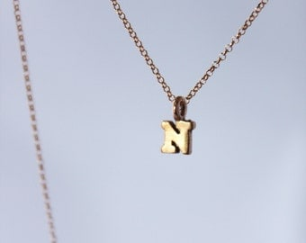 tiny rose gold letters or numbers. 18k pink gold vermeil charms. rose gold filled chain • • initial necklace