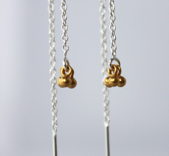 dainty gold threaders. tiny 24k gold vermeil balls. sterling, yellow or rose gold vermeil • • jenna chain earring
