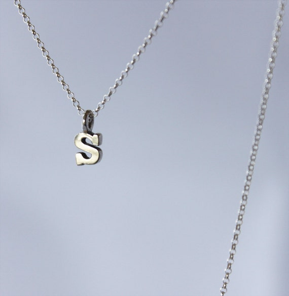 tiny letter or number charms. super delicate chain. all sterling silver or ss with gold vermeil • • initial necklace