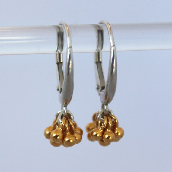tiny gold ball cluster earrings. sterling silver, mixed metal, rose or yellow gold vermeil • • jenna drop earring