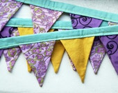 Winter Clearance Sale- - Fabric Bunting, Pennants, Apartment Decor, Cotton Fabric, Yellow, Purple, Floral, Home Decor by Merriweather Council on Etsy