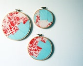 Fabric Wall Art. Geometric Patchwork Collage Circles in Hoops, Set of 3. Red, White, Teal Blue. Housewares, Home, Apartment, Dorm Decor. Handmade by merriweathercouncil on Etsy