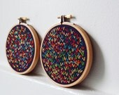 Wishbone Stitch Circles, Set of 2 Hand Embroidery in Hoops. Navy Blue, Red, Yellow, Multicolored. Wall Art. Fabric Art. Housewares, Home Decor. Laredo Texas. By merriweathercouncil on Etsy