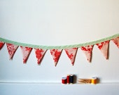 Mini Fabric Bunting, Red, Cream, Sea Foam Green, Mint, Pennant Banner Decoration. Apartment, Home, Dorm Decor. Gifts for Her. Handmade by merriweathercouncil on Etsy