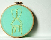 Hand Embroidery, Tiny Brass Chair in Yellow on Icy Mint. 5 inch Hoop. Hand drawn and stitched by merriweathercouncil on Etsy