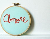 Embroidery Hoop Art, Text, Ice Blue and Red. Amore. Miniature Fiber Art. By merriweathercouncil on Etsy