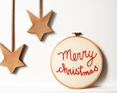 """Embroidered Hoop """"Merry Christmas"""". 6 inch. Holiday Decor. By merriweathercouncil on Etsy"""