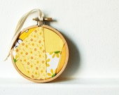 Christmas Ornament, Shades of Yellow.  Vintage Fabric, Yellow Geometric. 3 inch Embroidery Hoop. By merriweathercouncil on Etsy.