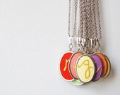 Bright Colors Available for Summer. Embroidered Initial Necklace. Customizable, Personalized Jewelry. by merriweathercouncil on Etsy