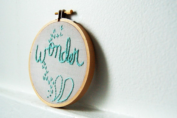 Wonder. Hand Embroidery in 4 inch Hoop. Mint on Gray. Miniature Fiber Art Sign. Handmade by merriweathercouncil on Etsy