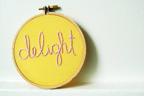 Delight. Hand Embroidery in 4 inch Hoop. Pastels, Pink on Yellow. Miniature Fiber Art. By merriweathercouncil on Etsy