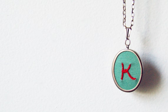 Embroidered Initial Necklace, Personalized Just For You. Pick Your Colors. By merriweathercouncil on Etsy.