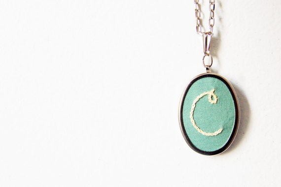 Embroidered Necklace. Initials, Monogram, Custom, Design your Own. Made Just For You by merriweathercouncil on Etsy.