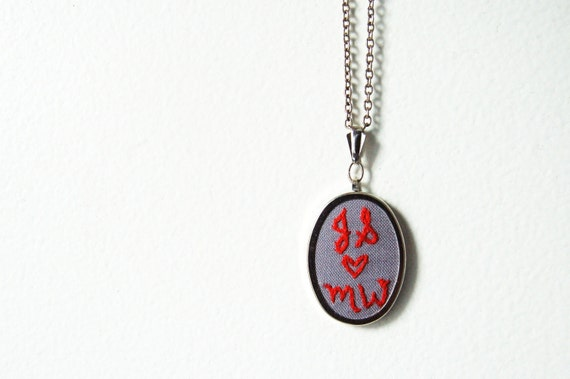 Embroidered Necklace, Perfect Gift for Girlfriend, Wife. For Couples, Mom, BFFs. Made Just For You.  by Merriweather Council on Etsy.