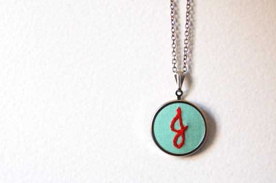 Initial Necklace. Embroidered Pendant. Custom Fabric Jewelry by merriweathercouncil on Etsy