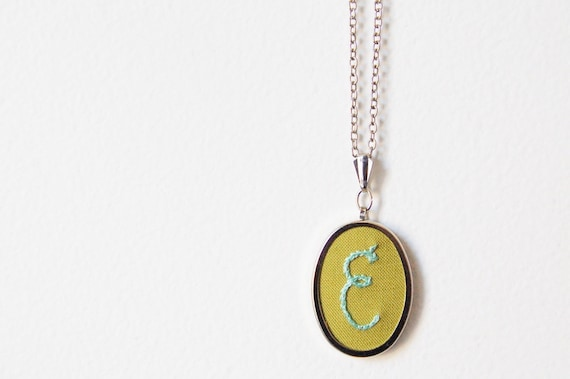 Embroidered Initial Necklace. Perfect For Bridesmaids.   // by Merriweather Council