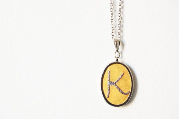 Initial Necklace, Embroidered. Perfect Gift for Her. Personalized Jewelry.  // by Merriweather Council