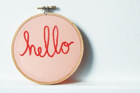 Hand Embroidery Hoop Wall Art. Hello. Light Peach and Coral Red. // by Merriweather Council