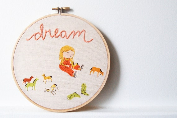 Hand Embroidered Hoop Wall Art. Dream. Little Girl Playing with Horses. Shades of Orange on Linen. by merriweathercouncil on Etsy.