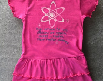 GEEKY GIRLS DRESS Funny Quantum Physics Toddler Ruffled Dress in Raspberry Ringspun Cotton - Let's All Fall Down With the Wave Function