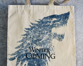 GAME of THRONES Tote Bag - Winter Is Coming Natural Cotton Flat Tote - House Stark Words & Sigil. Direwolf Bag