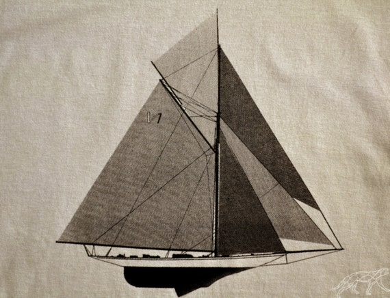 Sailing Tshirt - America's Cup Racing Yacht Tee -- Black ink on Tan Heavy Cotton Regular Fit