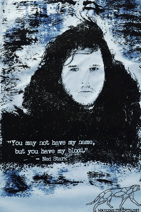 Game of Thrones Jon Snow Shirt - Unisex fitted for Men or Women. Supersoft Ringspun Cotton Slate Blue - Who Are Jon's Parents