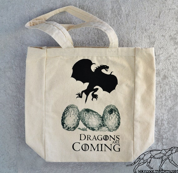 DAENERYS GAME Of THRONES Tote Bag - Dragons Are Coming - for Laptops Tablets Books Overnight Groceries etc - Heavy Canvas with Gussets