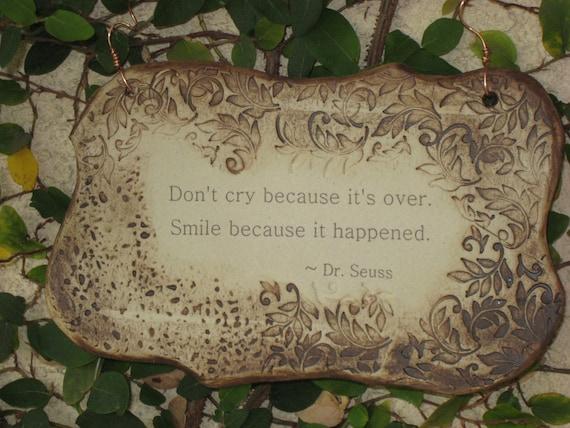 Wonderful Dr. Seuss Quote Ceramic Plaque - Sepia