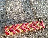 Chevron Friendship Necklace -Grapefruit (Orange, Fuchsia, Pink, Yellow)
