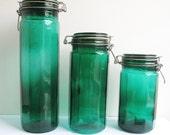 vtg green glass jars set 3