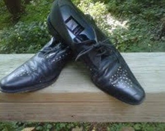 Italian Black Leather Shoes Steampunk Swing Dance 8 8 1/2 Leather Sole and Cool Cutouts