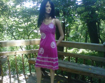 Tie Dyed Slip Dress Pink White Tie-Dyed Handmade Upcycled Vintage