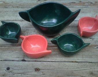 Serving Bowl Set Green and Orange MCM Kitsch