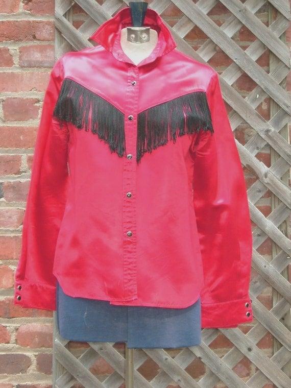 Vintage Western Cowboy Cowgirl Red Satin Black Fringes Unisex Rodeo Shirt SALE