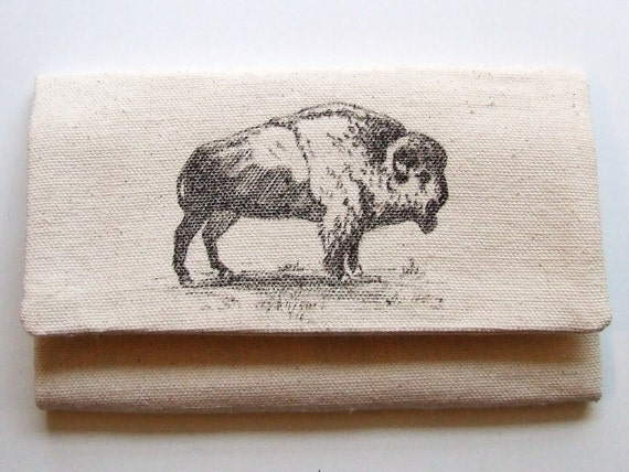 made to order mens wallet with buffalo hand drawn handmade