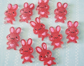 Kawaii Bunny Red Glitter Cabochons - Set of 10
