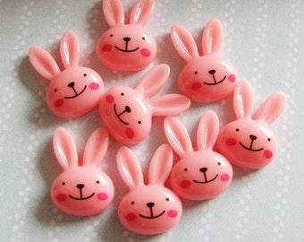 Kawaii Bunny Cabochon PINK - Set of 8