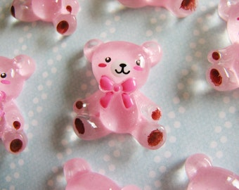 Glittery Pink Teddy with Bowtie Cabochon - Set of 8