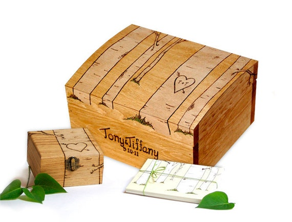 Reserved Listing For Emily Large Rustic  Personalized All Pine Wooden Aspen Tree Gift Card Box Memory Box Jewelry Box Treasure Chest