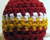 Football Team Beanie, Boy Beanie Hat - Gold with Red - Or Your Favorite Sports Colors, You Choose Size
