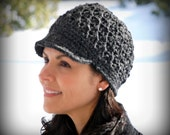 Crocheted Fashion Newsboy Cap Beanie Hat with Visor -Charcoal Gray, Wool Blend Yarn, Winter Accessories