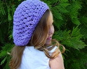 Girls Clothing Accessories, Hats, Crochet Beret - Slouchy Beanie Hat - trendy and fun, purple or choose your favorite color